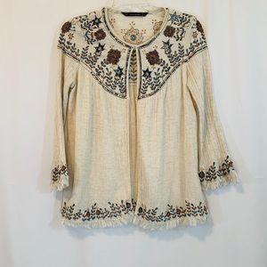 Zara Trafaluc Boho Embroidered Cardigan